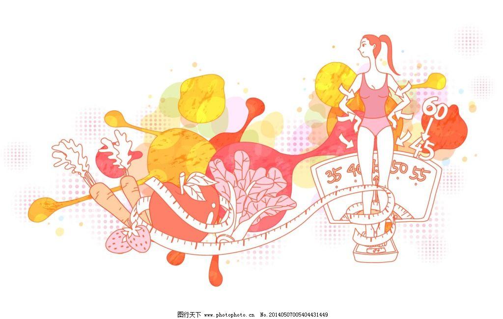 减肥的人免费下载 减肥 皮尺 手绘 素描 手绘 素描 减肥 称重 体重图片