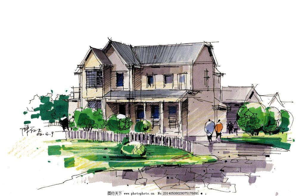 建筑景观空间手绘图 建筑 景观 手绘图 别墅 空间 建筑设计 环境设计
