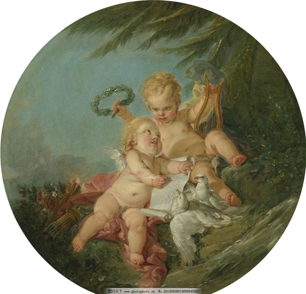 小天使 宗教油画 天堂 写字 橄榄树叶 鸽子 古典油画 油画 绘画书法