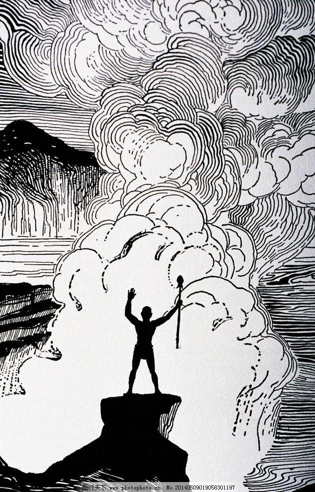 人物版画 黑白 人体 抽象 线条 绘画书法 文化艺术