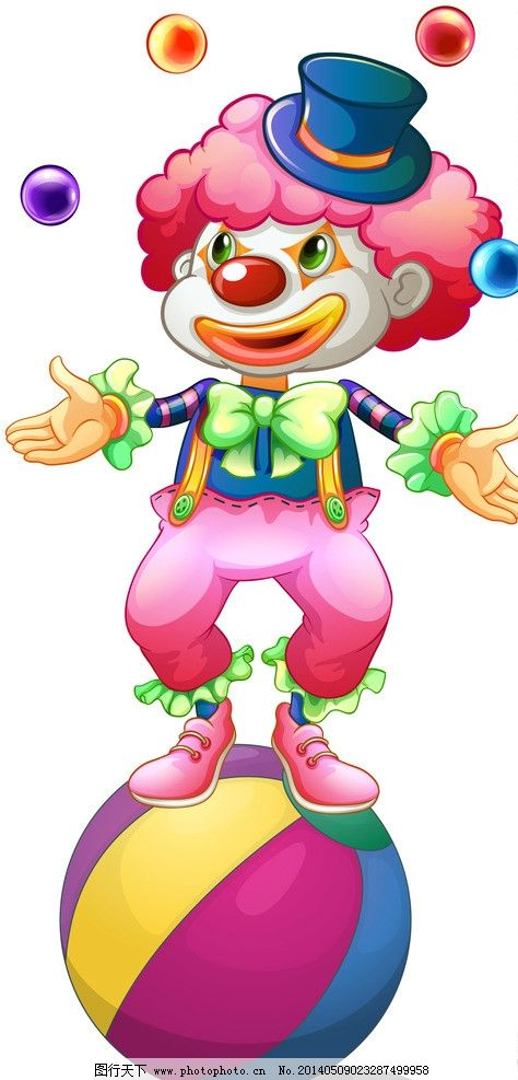 小丑 手绘 马戏团 可爱 滑稽 职业人物 动漫 矢量人物 卡通设计 广告