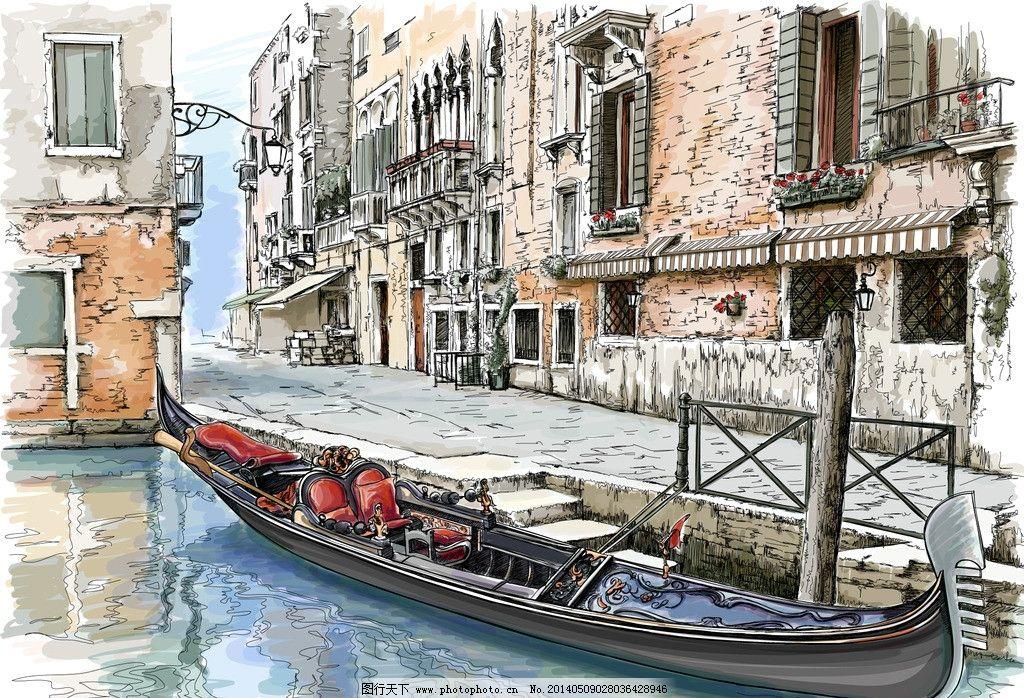 手绘建筑 欧洲建筑 威尼斯水城 素描 线描 绘画书法 建筑园林 欧式