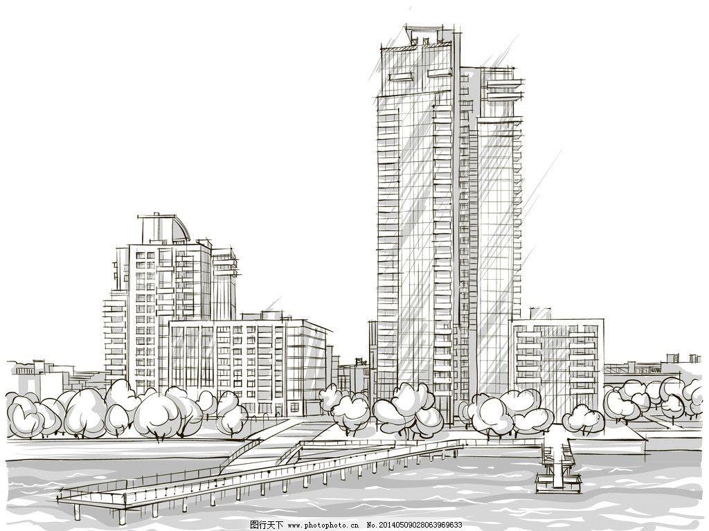手绘建筑 欧洲建筑 素描 线描 绘画书法 建筑园林 欧式建筑 手绘 建筑