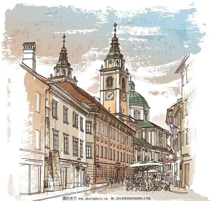 素描 手绘街道 手绘建筑 素描街道 素描建筑 手绘稿 素描稿 画画 图画