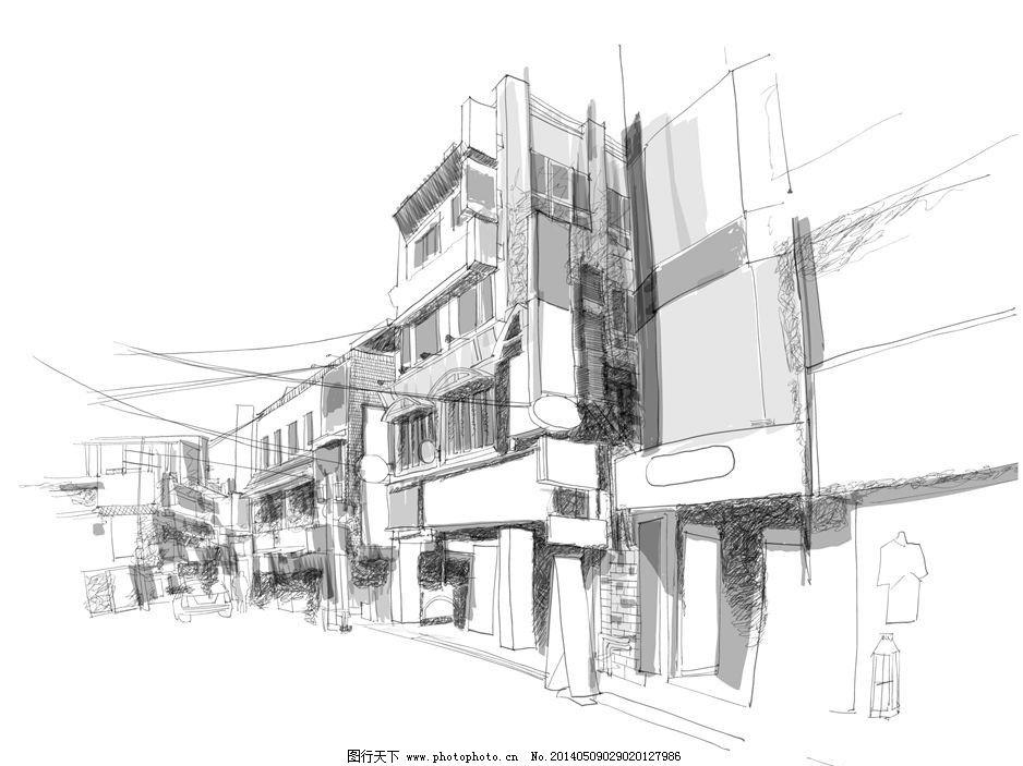 手绘素描建筑街道图片