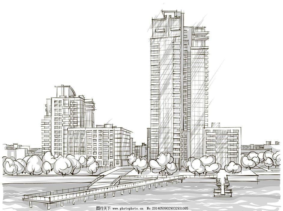 手绘素描建筑街道楼房图片