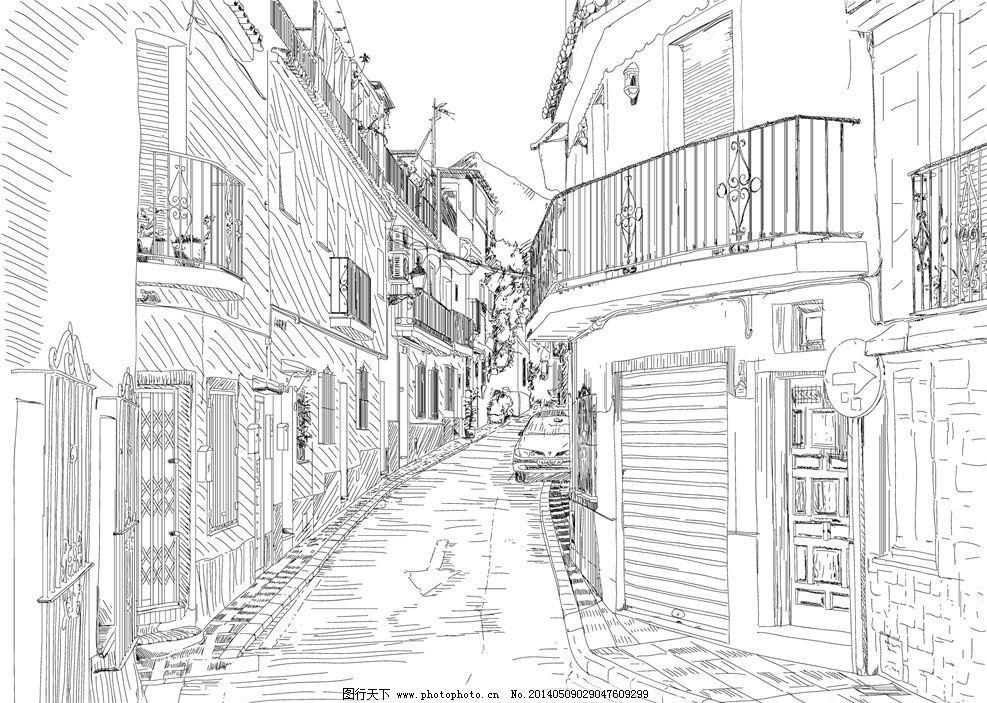 手绘建筑 素描街道 素描建筑 手绘稿 素描稿 画画 图画 手绘楼房 素描