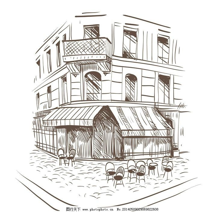 手绘 素描 手绘街道 手绘建筑 素描街道 素描建筑 手绘稿 素描稿 画画