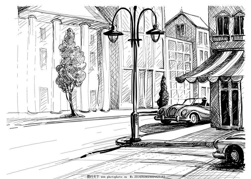 手绘素描建筑街道楼房图片图片