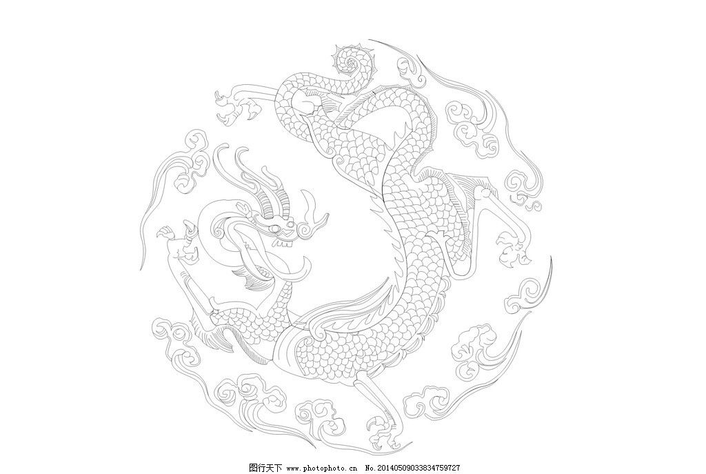 龙图腾 线描 图腾 龙 中国标志 中国印象 龙纹 线描图 龙线描图 矢量