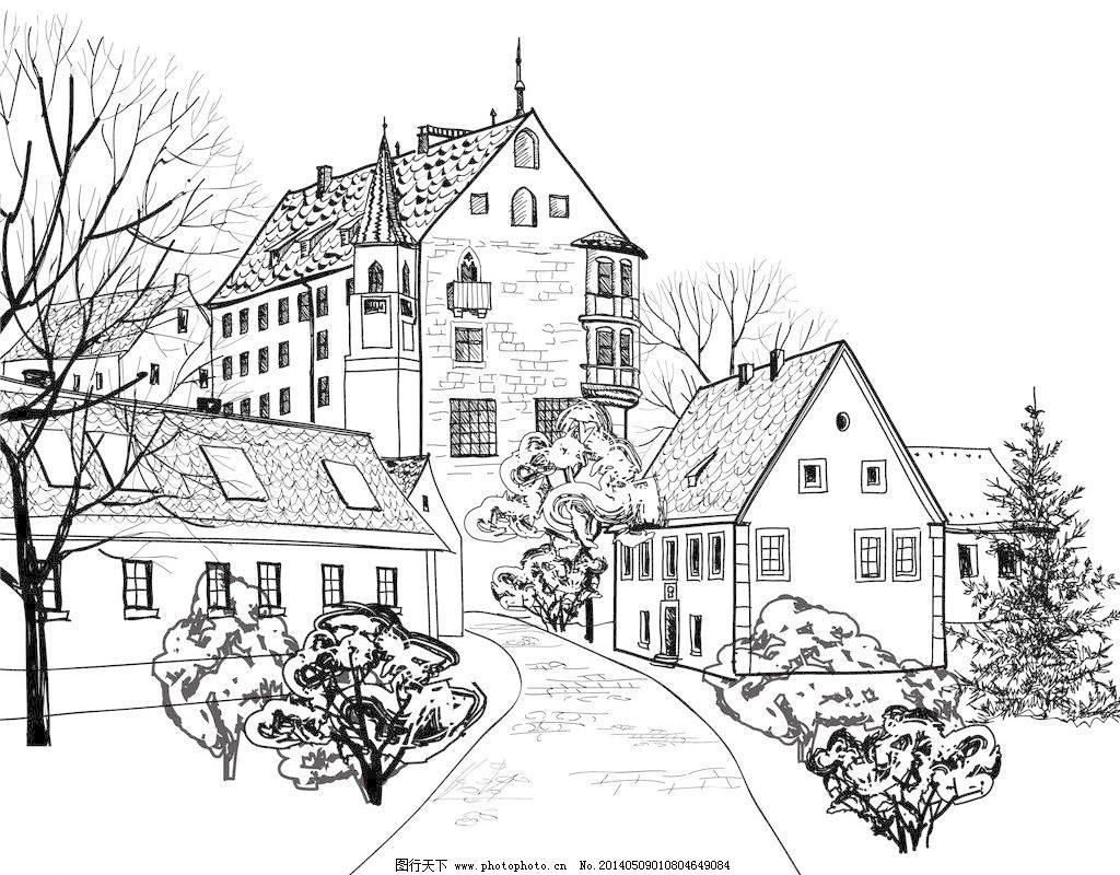欧洲城市建筑手绘