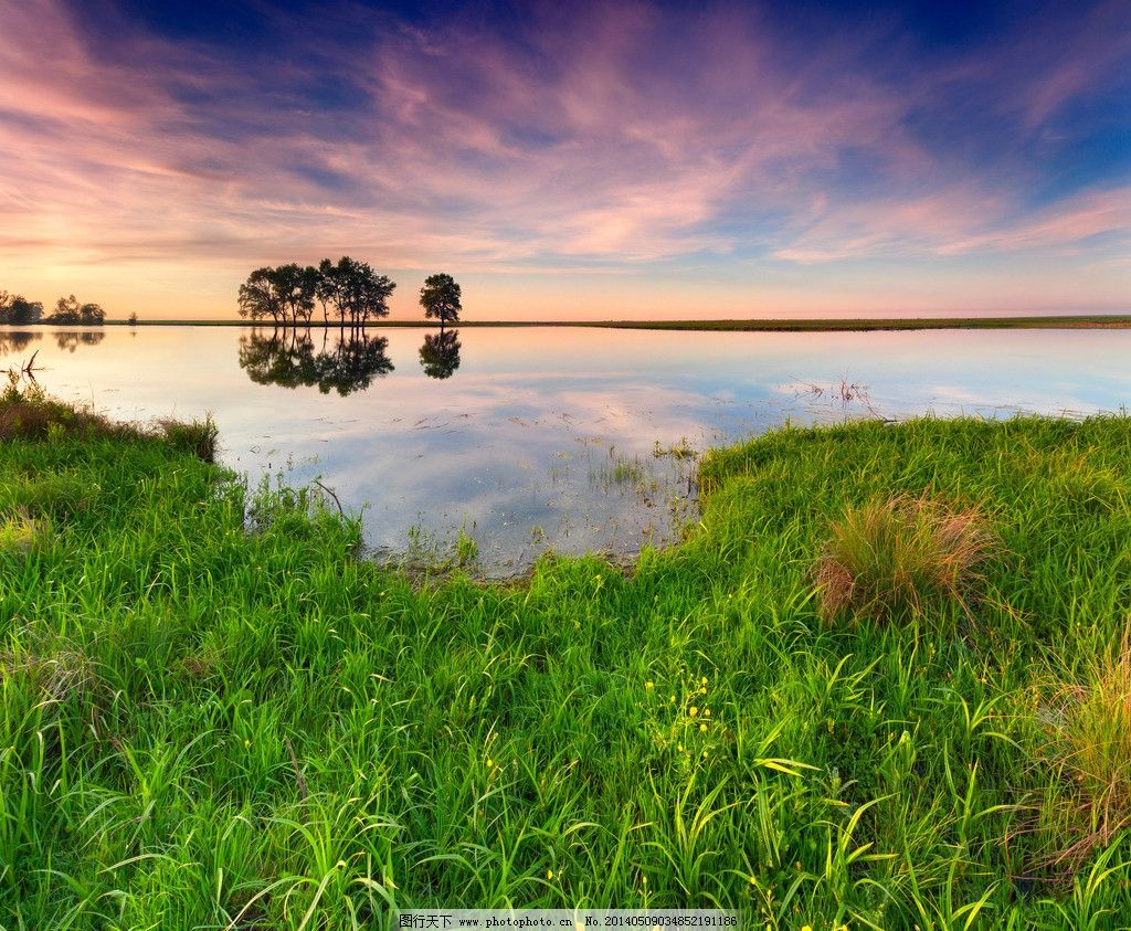 湖泊自然花草风景风光图片