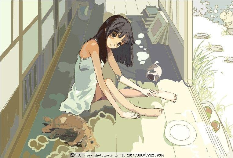 慵懒午后 插画 午后 阳光 女孩 小清新 动画 flash 猫 卡通 动画素材