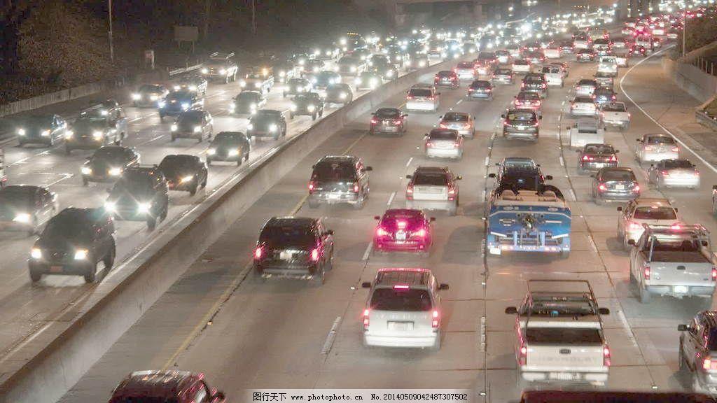 洛杉矶高架路交通城市夜景