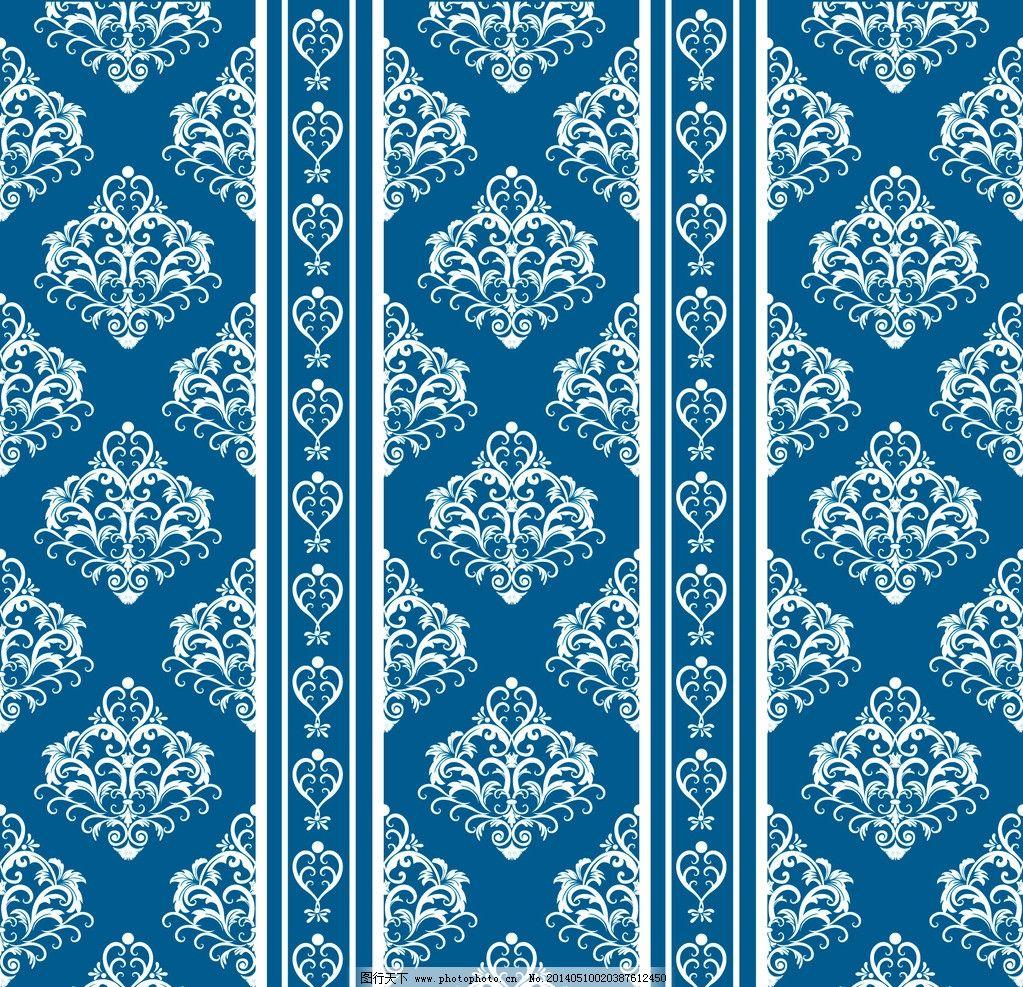 蓝色墙纸 蓝色壁纸 蓝色 蓝色花纹 壁纸 欧式 经典花纹 墙纸 花纹背景图片