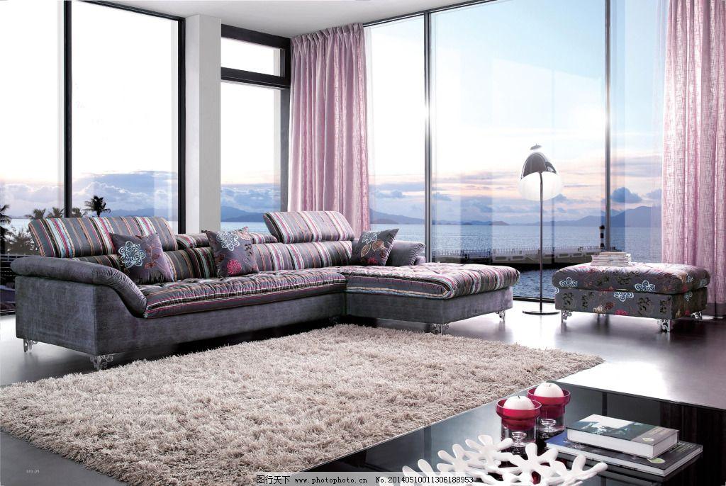 布艺沙发背景图片