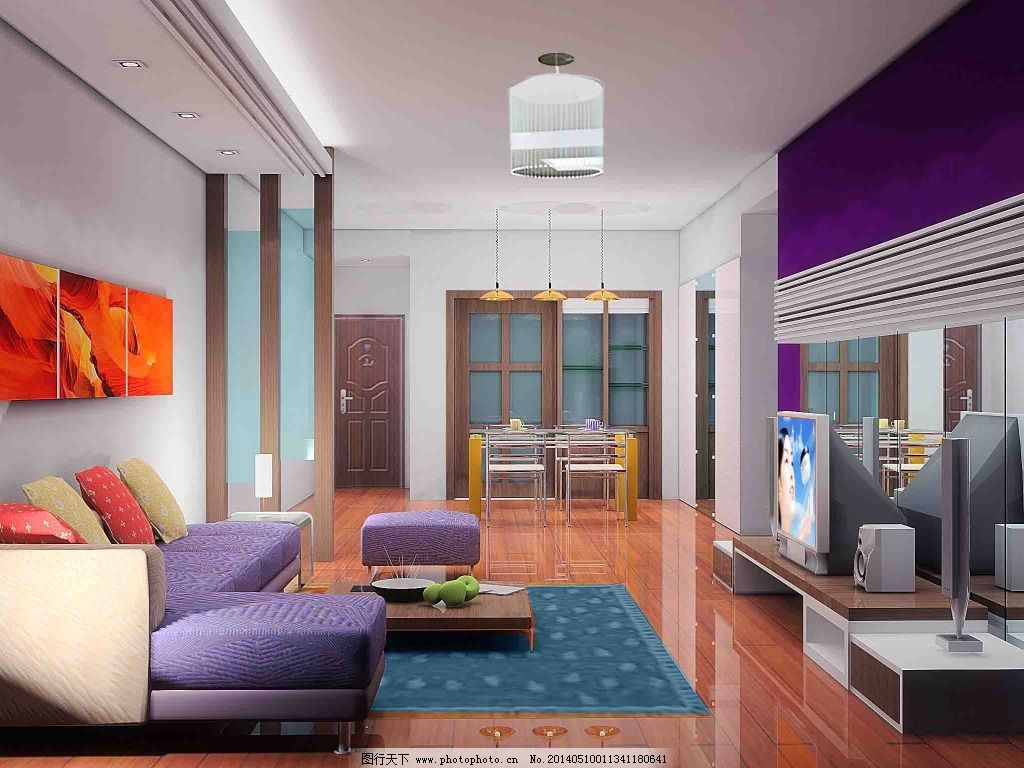 紫色电视背景墙免费下载