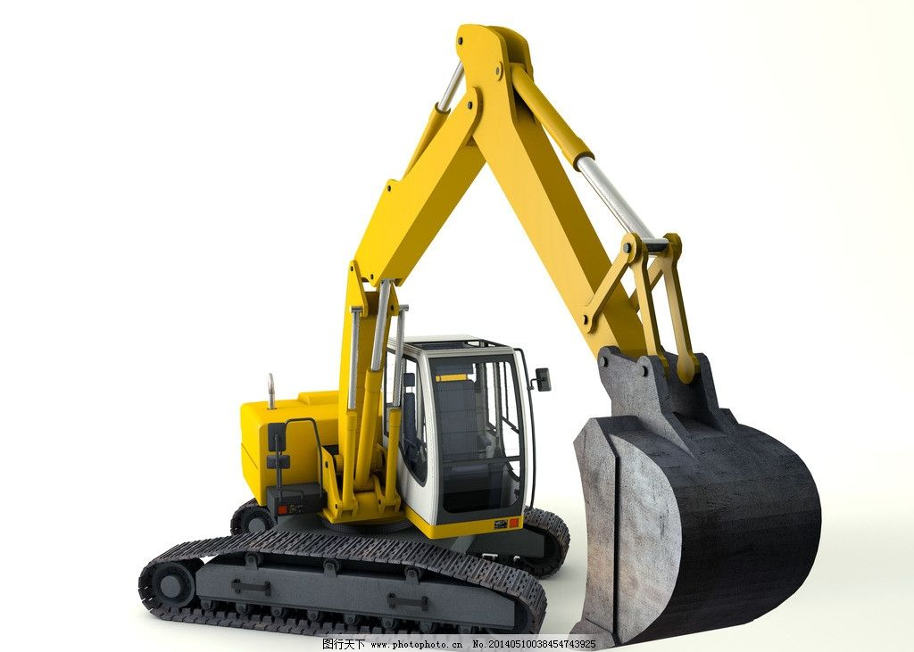挖土机设计素材 挖土图片_其他_现代科技_图行天下图库