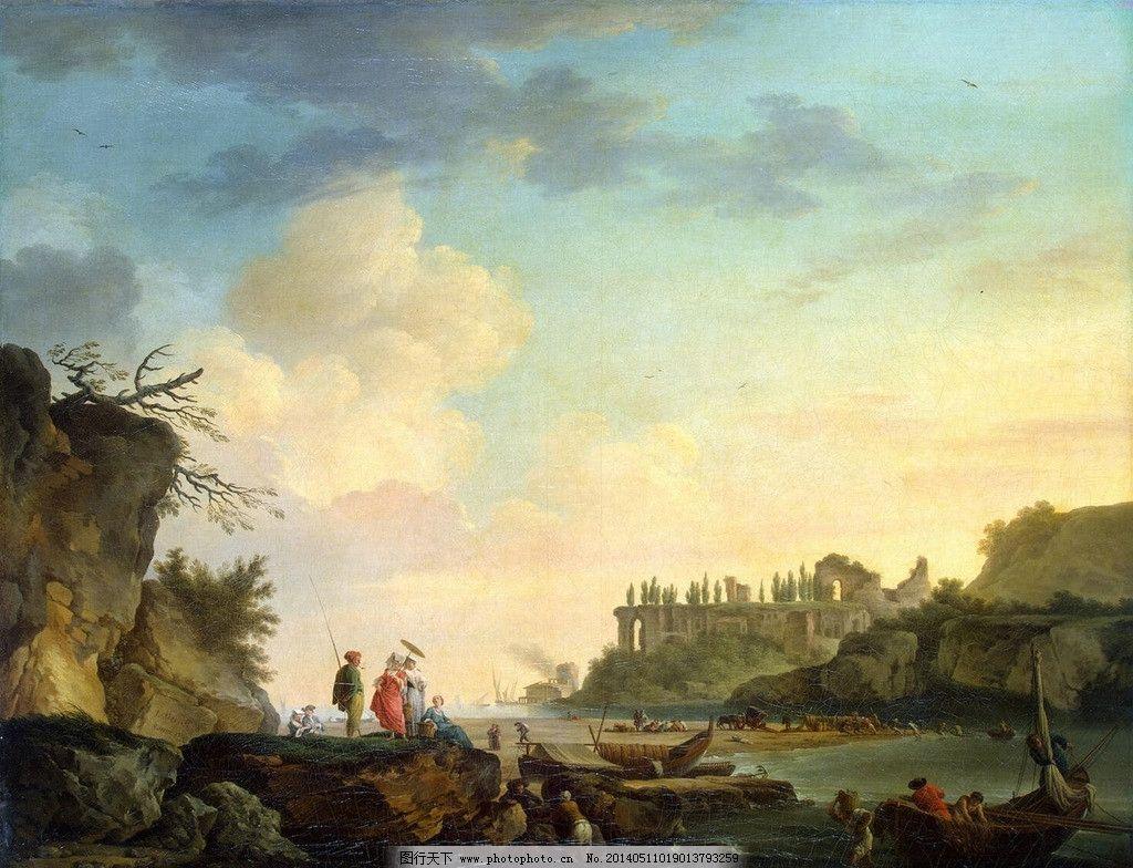 古典风景油画 西方 古典 油画 风景 高清 蓝天 白云 绘画书法 文化