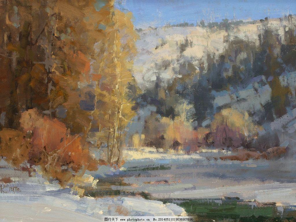 树林 雪地 油画 风景油画 写生 外国油画 绘画