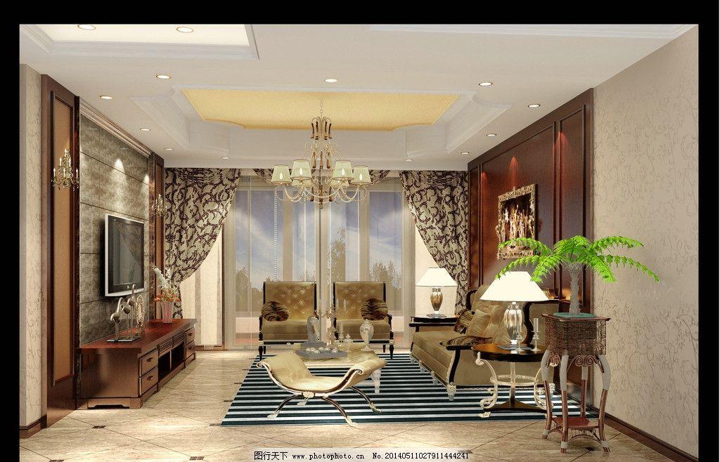 室内效果图 欧式客厅 欧式电视背景墙 沙发背景 木饰面装饰 欧式吊顶 室内设计 环境设计 设计 300DPI JPG