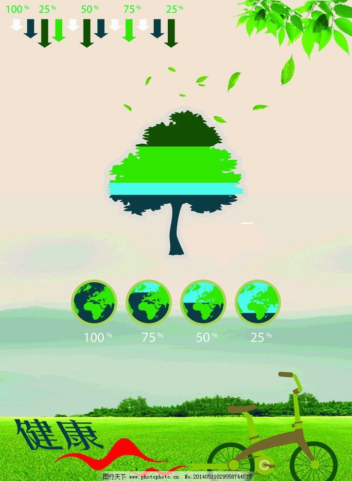 环保海报 环保 自行车 树 绿色 空气 广告设计 矢量 cdr
