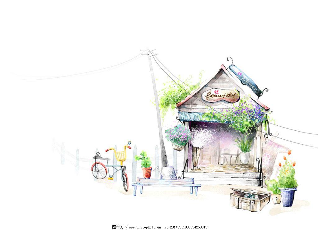 郊外的房子免费下载 房子 手绘 水墨 自行车 水墨 手绘 房子 自行车