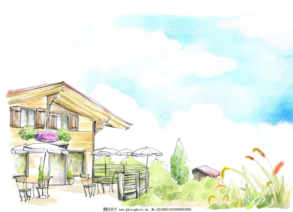 小木屋免费下载 木屋 手绘 水彩画 太阳伞 手绘 木屋 咖啡座 太阳伞