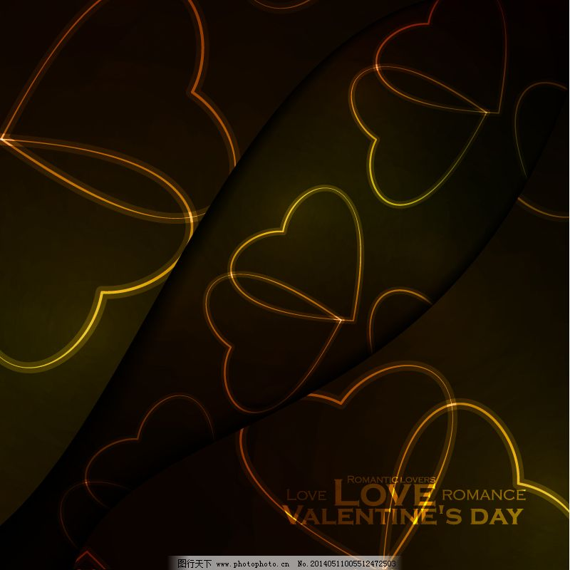华丽心型花纹背景 华丽心型花纹背景免费下载 爱心 金色 情人节快乐