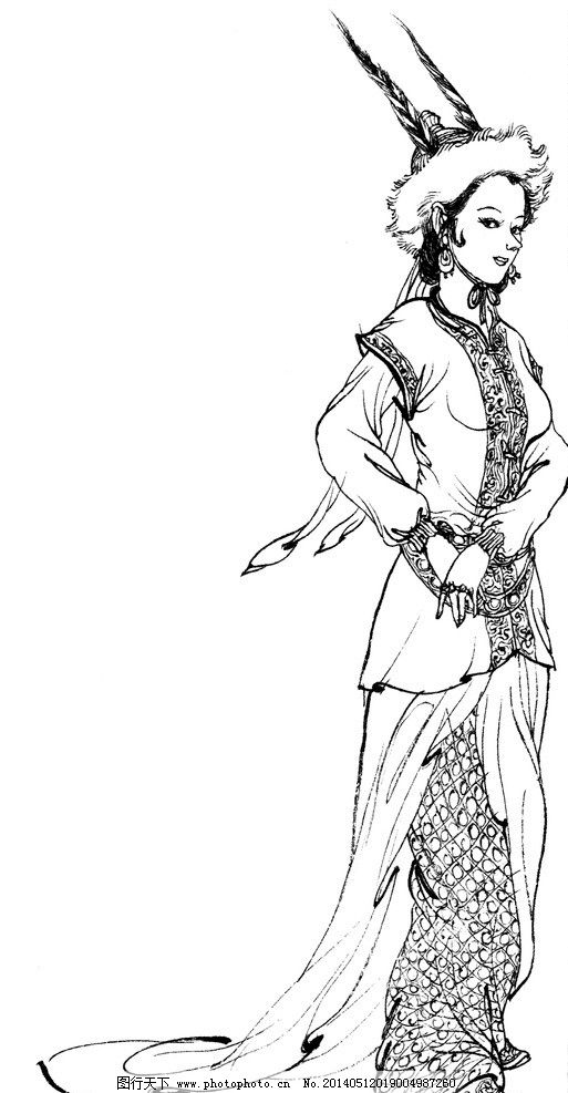 西游记人物西凉国女官 李云中 白描 绘画书法 文化艺术