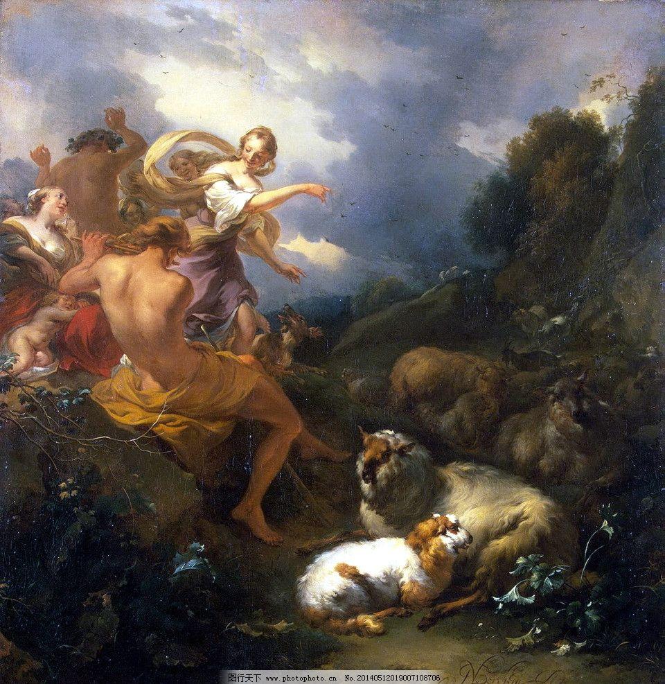 古典人物油画 西方 古典 油画 风景      人物 乌云 绘画书法 文化