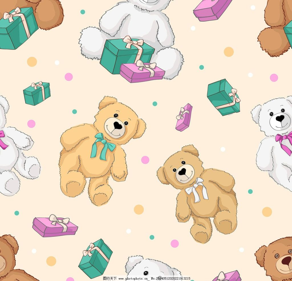 卡通背景图片,卡通动物 可爱 手绘 玩具熊 布纹 背景