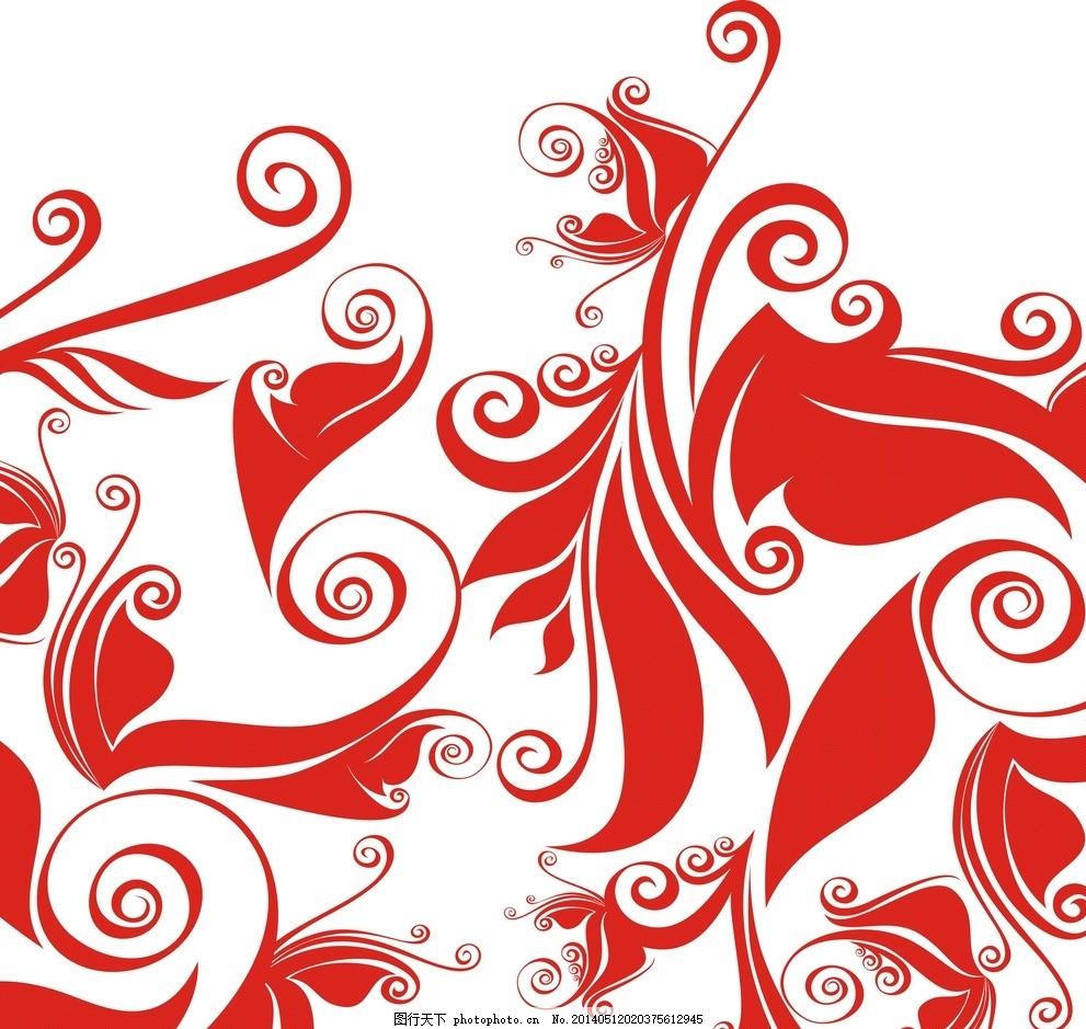 红色花纹 花纹 花边矢量素材 欧式底纹 花边花纹 矢量 花边 边框 花卉