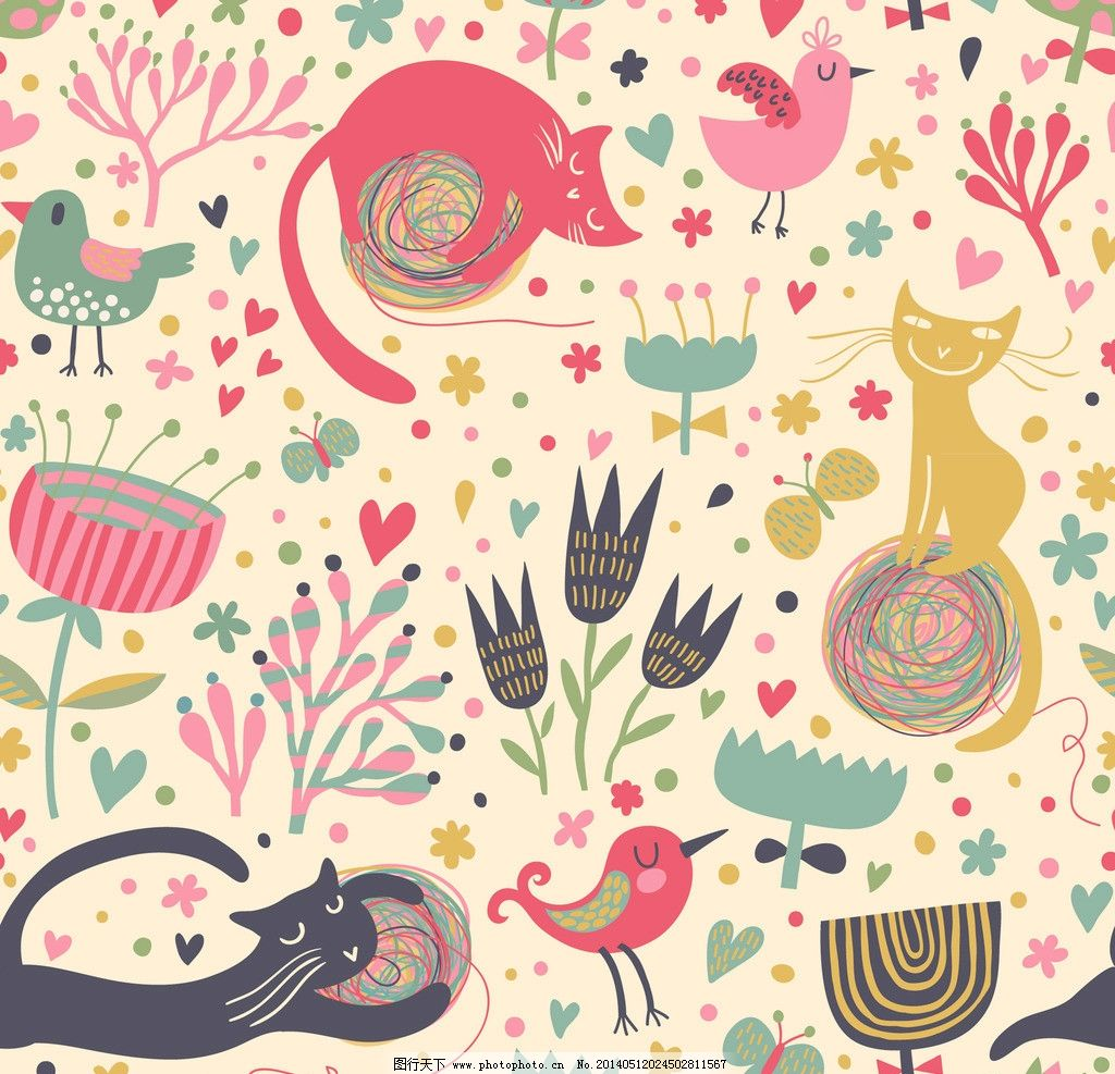 卡通动物 卡通背景 可爱 手绘 宠物猫 小鸟 布纹 背景画 卡通 无缝