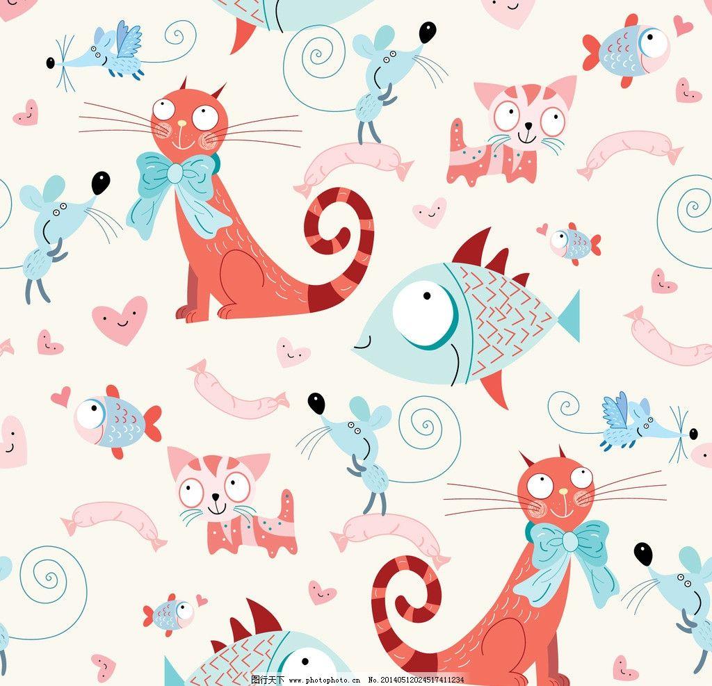 卡通动物 卡通背景 可爱 手绘 宠物猫 小鱼 布纹 背景画 无缝背景
