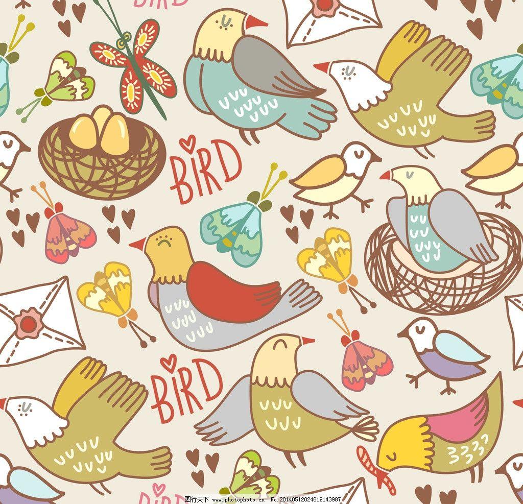 卡通动物 可爱 手绘 鸟