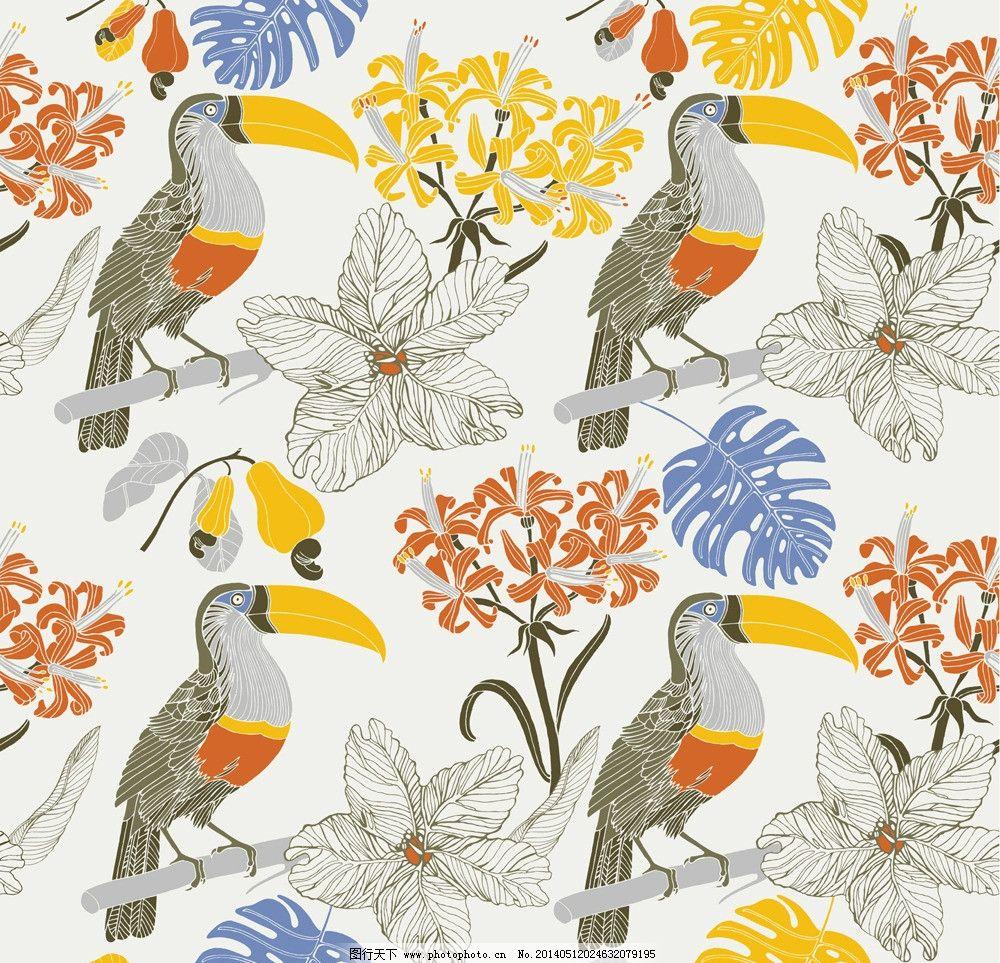 卡通动物 可爱 手绘 长嘴鸟 布纹 背景画 无缝背景 卡通设计