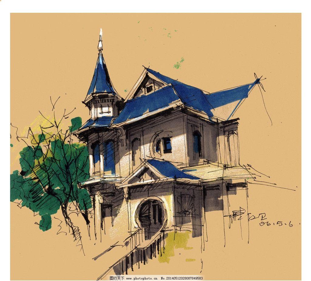 建筑      手绘图 设计 马克笔画 建筑设计 环境设计 300dpi jpg