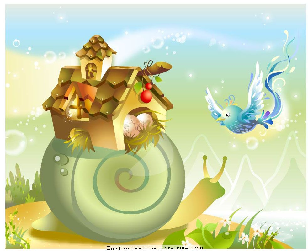 蜗牛背上的房子免费下载 插画 动物 房子 童话 蜗牛 童话 插画 动物