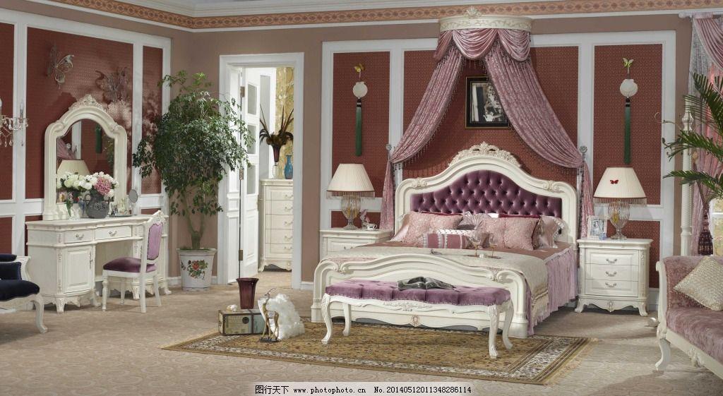 红色欧式大床 红色欧式大床免费下载 室内设计 装修 床铺 家居装饰图片