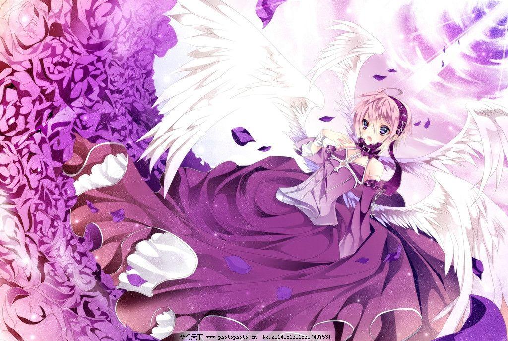动漫美女 卡通 第九期画室 紫色背景 天使 翅膀 动漫美图 动漫动画
