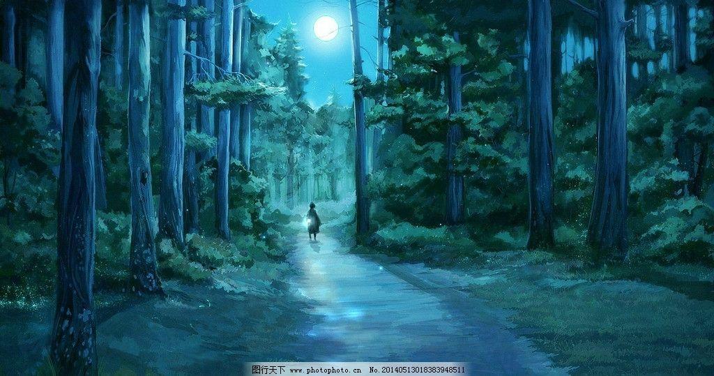 唯美 手绘 插画图片,人头高数耸立 夜晚小路 独自行走