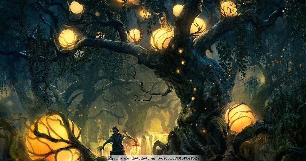 手绘 插画 森林大树