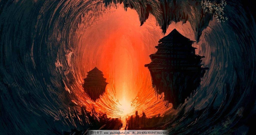 风景 手绘 插画 山洞 红光 城堡手绘 动漫动画