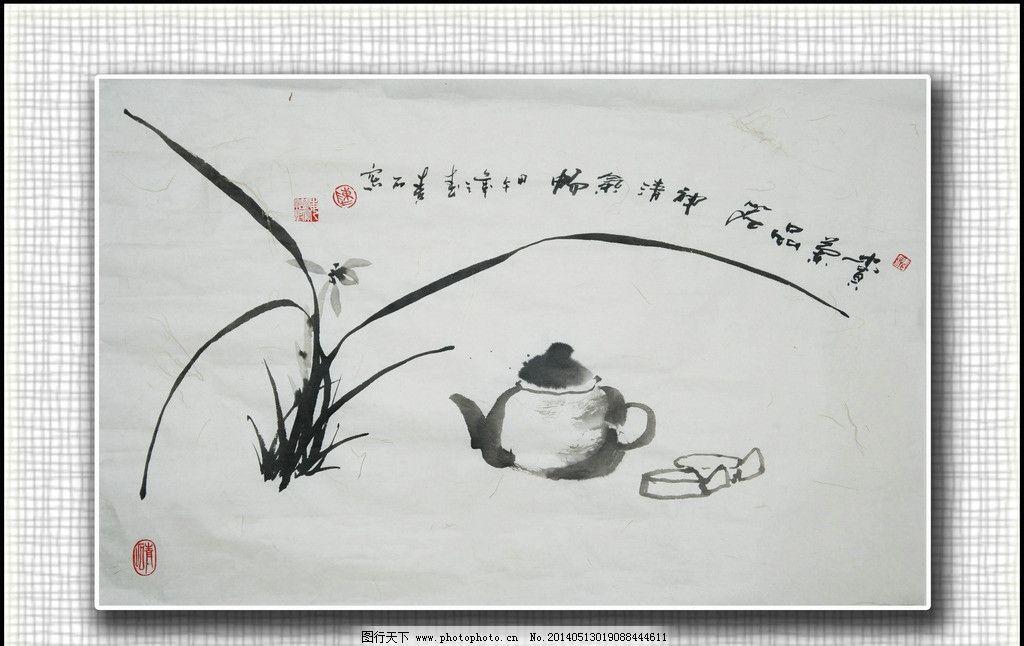青石国画兰花 写意兰花 墨兰 绘画书法 文化艺术
