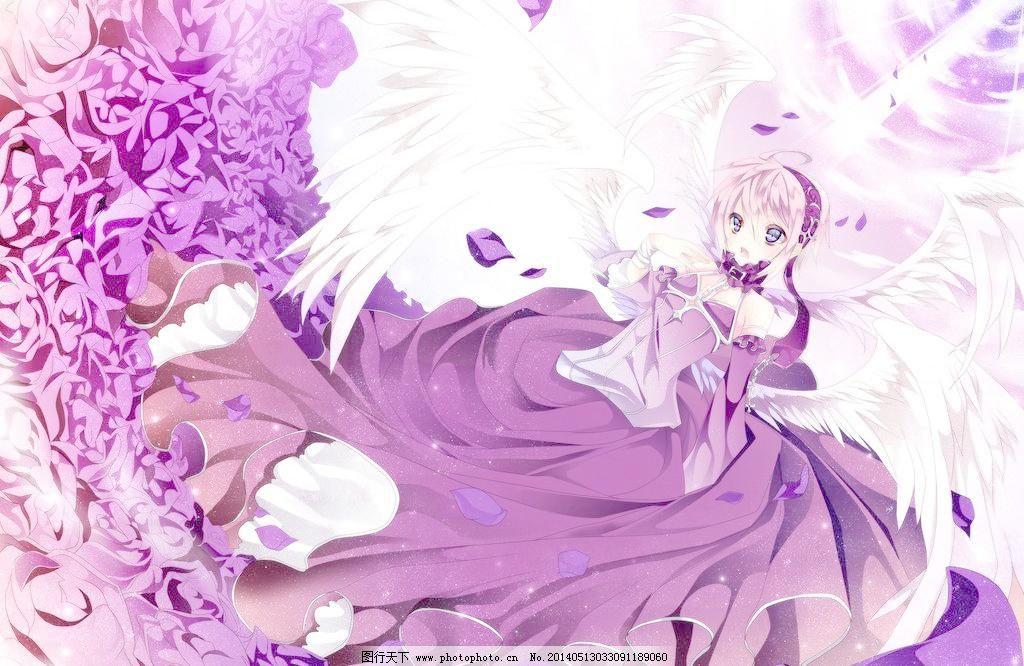 动漫美女模板下载 动漫美女 卡通 动漫 美女 第九期画室 紫色背景