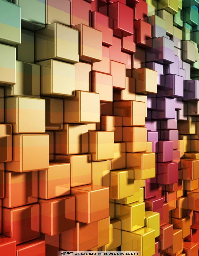 科技感十足背景 高清彩色质感 立体方块墙面模板下载 高科技感图片