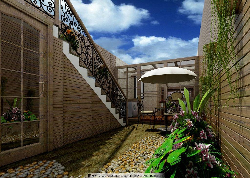 室外 地下室 露台 阳台 地面 天空 效果图图片
