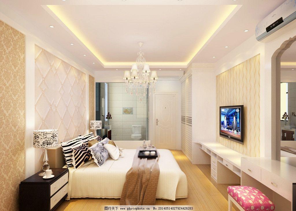 现代简约主卧室效果图 吊顶 吊灯 筒灯 光带 电视背景 电视柜 梳妆台