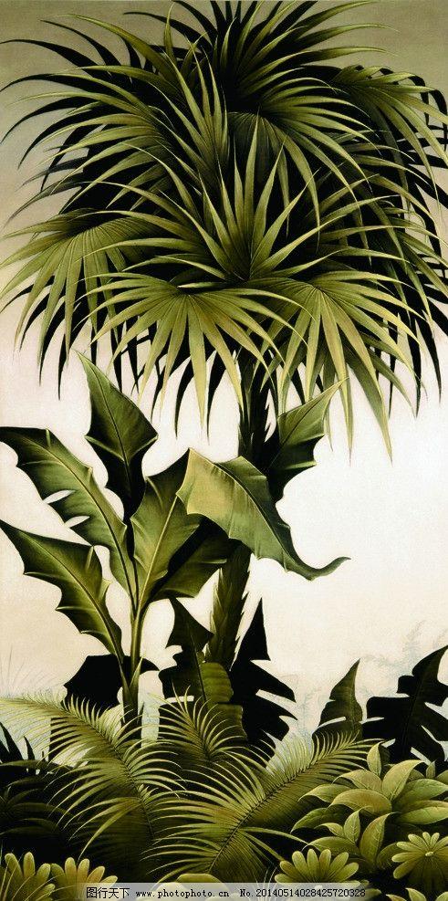 芭蕉 芭蕉树 芭蕉叶子 热带植物 无框画 装饰画 墙纸画 花纹 挂画